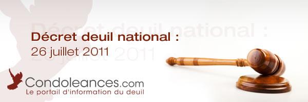 Décret deuil national : 26 juillet 2011