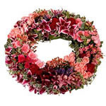 Fleurs deuil : couronne pour obsèques.